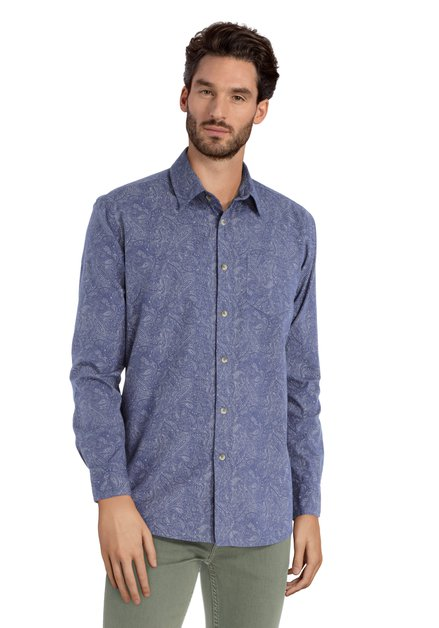 Blauw hemd met oosters motief – regular fit