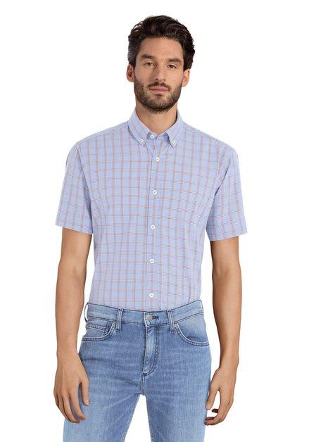 Blauw hemd met rode ruiten - Serkan – slender fit
