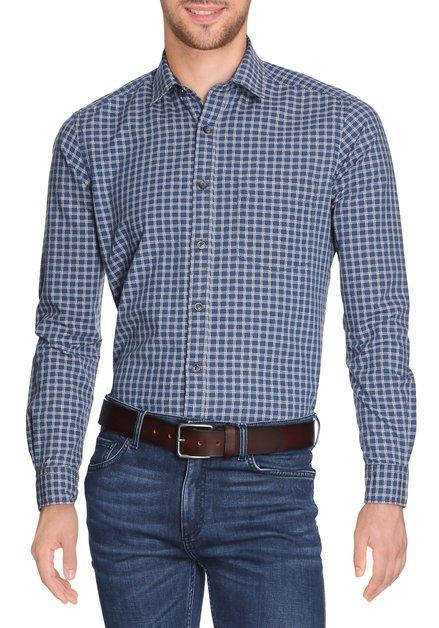 Blauw hemd met ruiten in reliëf - slender fit