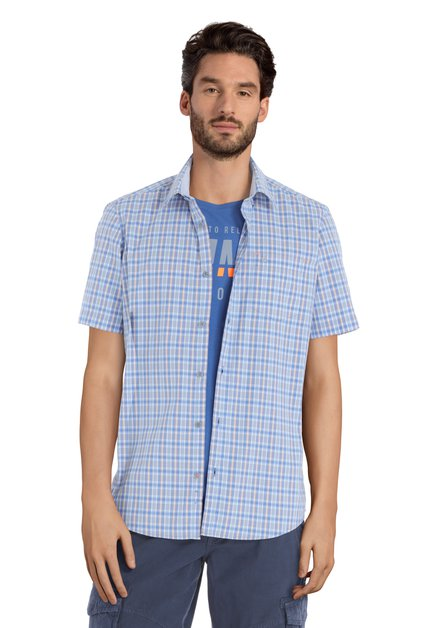 Blauw hemd met ruitjes - modern fit