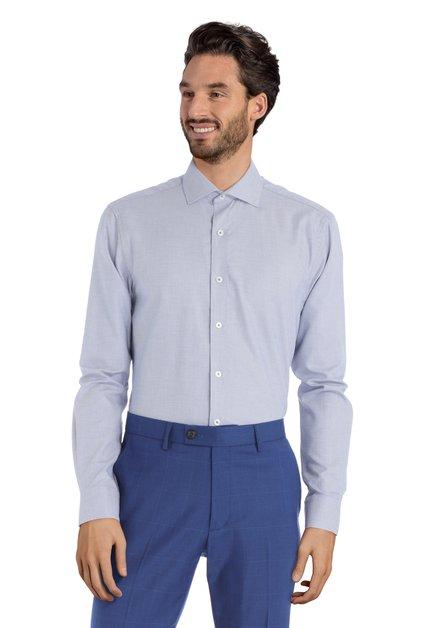 Blauw hemd met stipjes -Sigmund - Slender fit