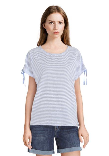Blauw katoenen T-shirt met textuur