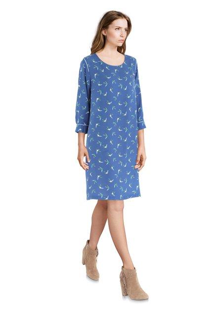 Blauw kleed met vogeltjes