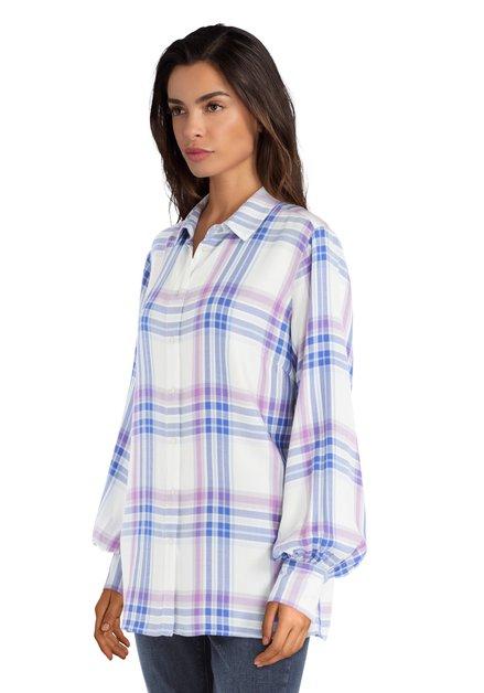 Blauw-paarse blouse met ruiten