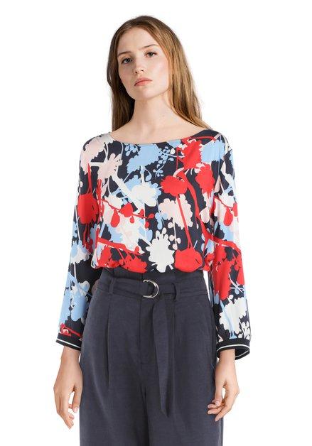 Blauw-rode blouse met bloemenprint