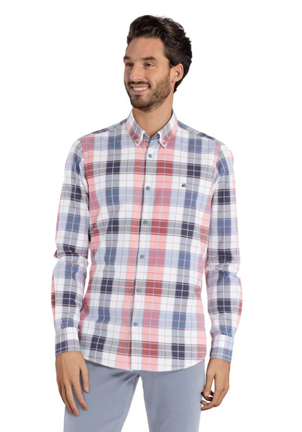 Blauw-rood geruit hemd – modern fit
