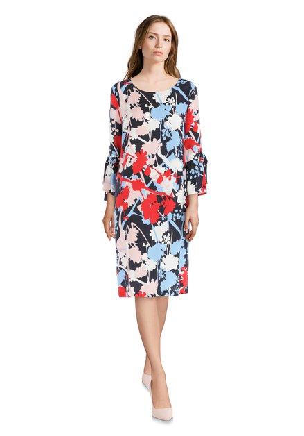 Blauw-rood kleed met bloemenprint