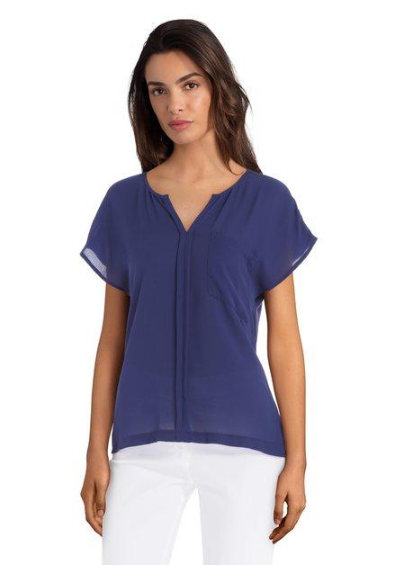 Blauw T-shirt met borstzakje