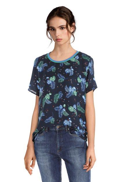 Blauw T-shirt met een tropische print