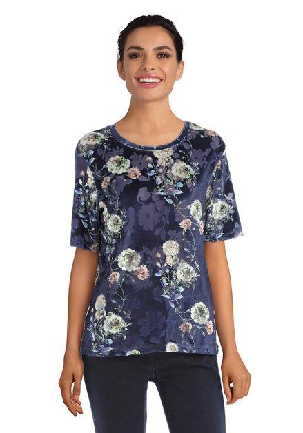 Blauw T-shirt met groene bloemen en structuurstof