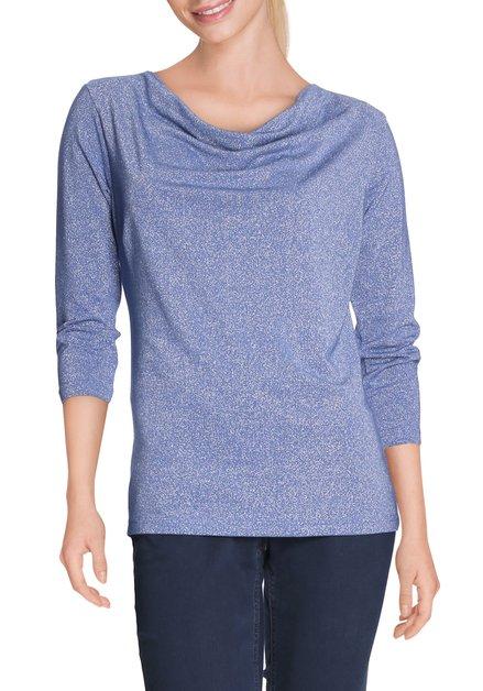 Blauw T-shirt met lurex en watervalhals