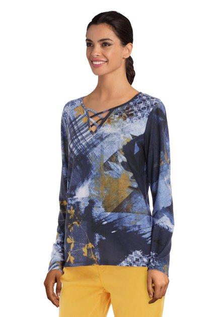 Blauw T-shirt met mosterdgele print