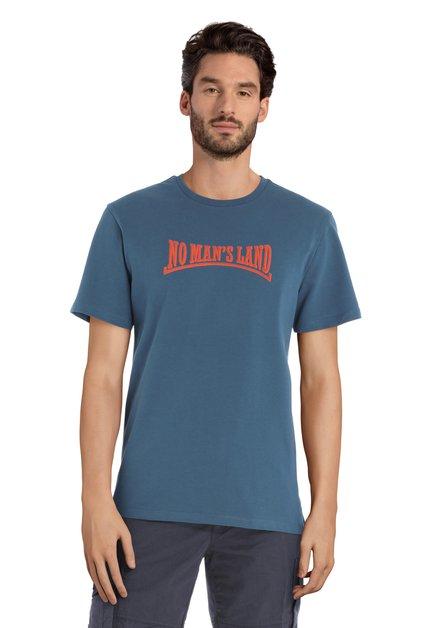 Blauw T-shirt met oranje print