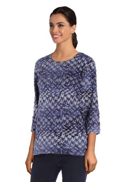Blauw T-shirt met print in reliëf