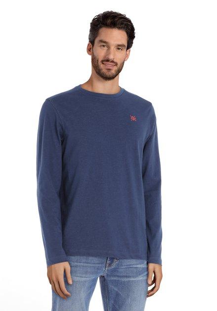 Blauw T-shirt met ronde geribde hals