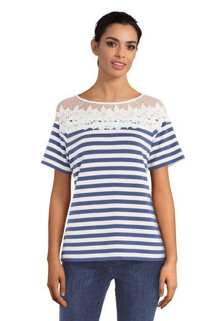 Blauw T-shirt met witte strepen en bloemen