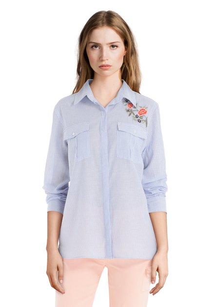 Blauw-wit gestreepte blouse met bloemen