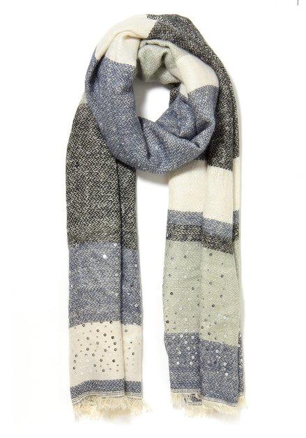Blauw-witte sjaal met pailletten