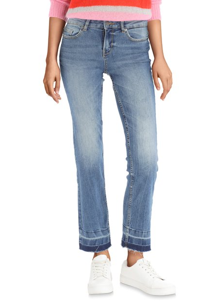 Blauwe 7/8 denim met wassing – regular fit