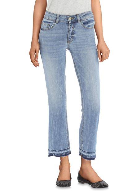 Blauwe 7/8 jeans met wassing - flared fit