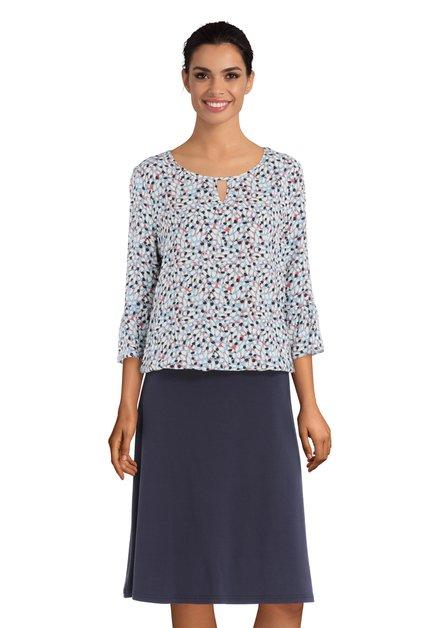 Blauwe blouse met abstracte bladerprint