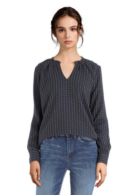 Blauwe blouse met geometrische print