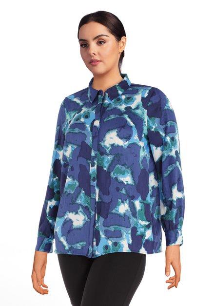 Blauwe blouse met groen-witte flou print