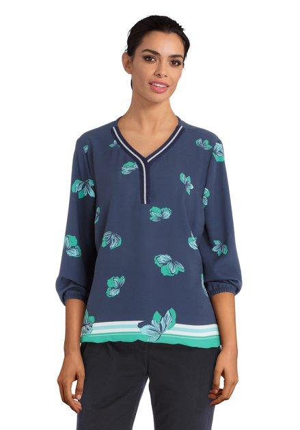 Blauwe blouse met groene bloemenprint