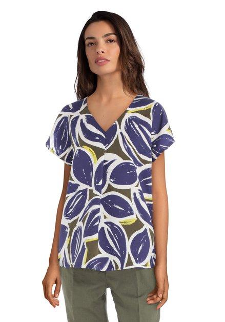 Blauwe blouse met grote bladerprint