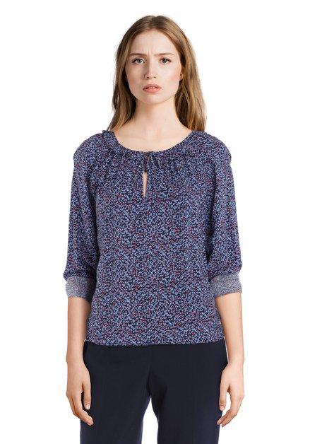 Blauwe blouse met rode stipjes in viscose