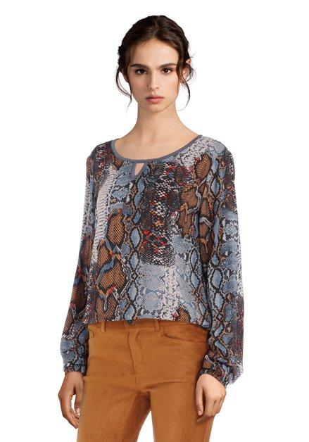 Blauwe blouse met slangenprint