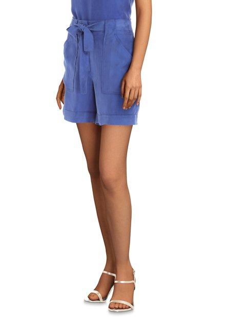 Blauwe cupro short