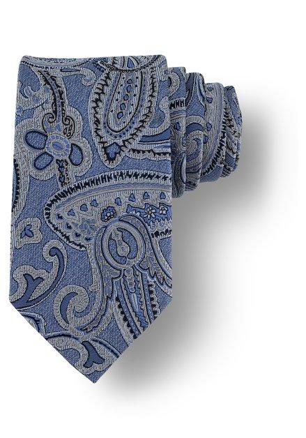 Blauwe das met grijs Paisley motief