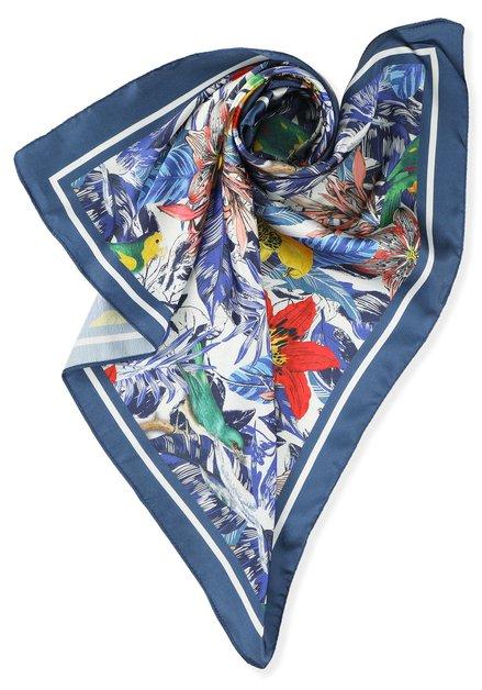 Blauwe foulard met tropische print