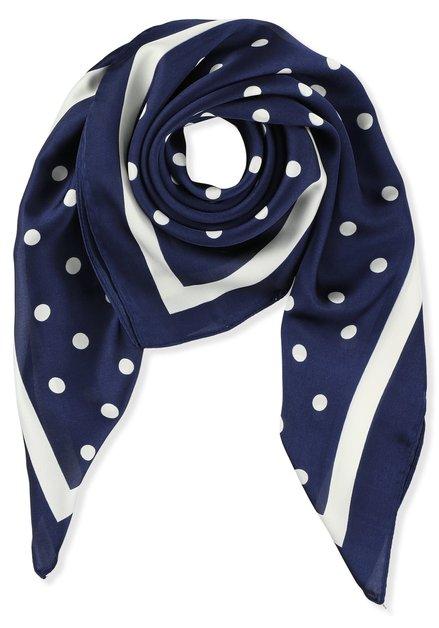 Blauwe foulard met witte stippen