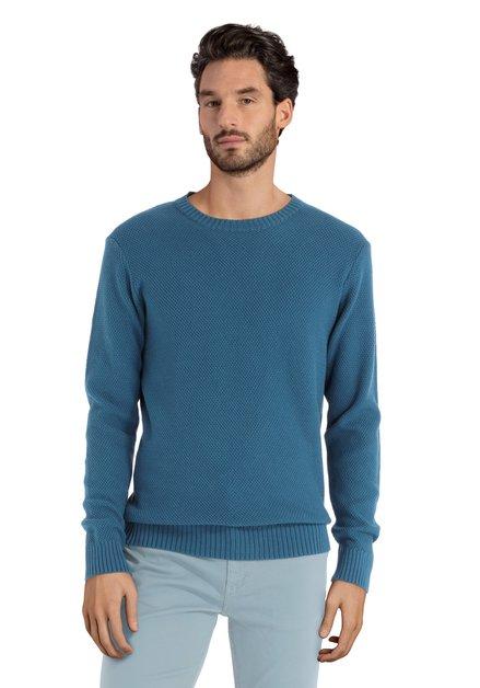Blauwe gebreide trui met ronde hals
