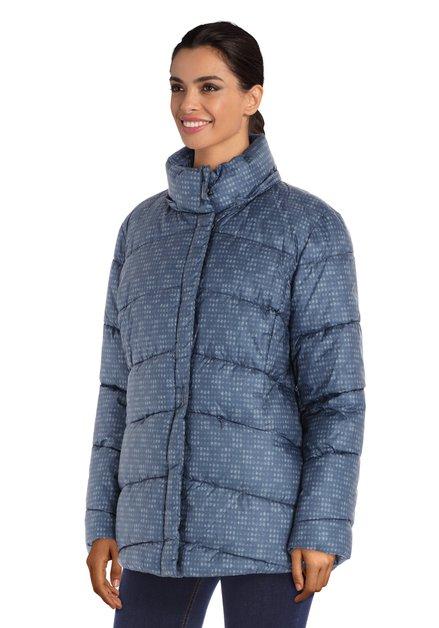 Blauwe gematelasseerde jas met afneembare kap