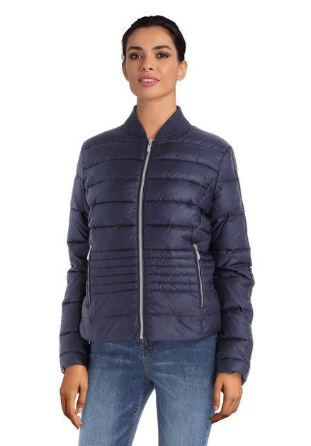 Blauwe gematelasseerde jas met glitter