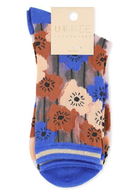 Blauwe glittersokken met bloemen