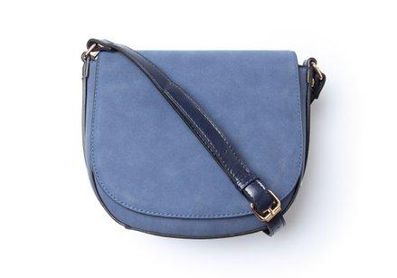 Blauwe handtas met schouderlint