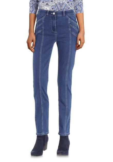 Blauwe jeans met ecru stiksel en studs - slim fit