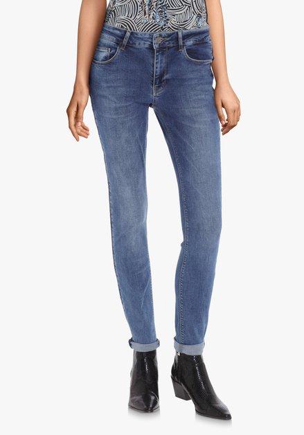 Blauwe jeans met gevlochten biesje – slim fit
