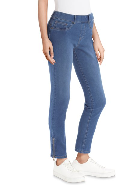 Blauwe jeans met tirettes - slim fit