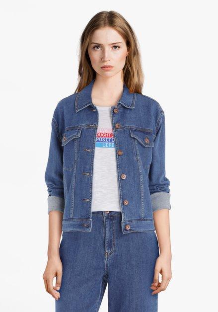 Blauwe jeansjas in stretchkatoen