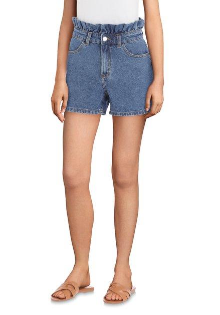Blauwe jeansshort met ruches