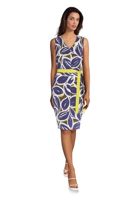 531f5dbfa0a2df Blauwe jurk met grote bladerprint