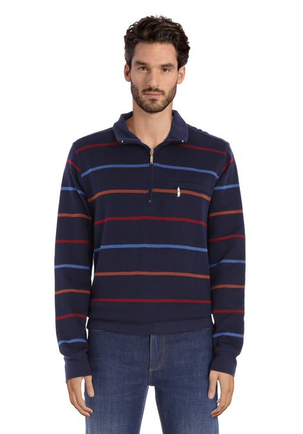 Blauwe katoenen trui met gekleurde strepen