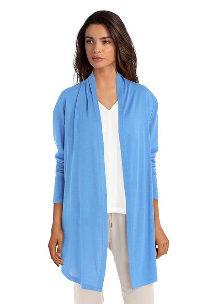 Blauwe open cardigan