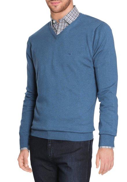 Blauwe pull met geribde v-hals