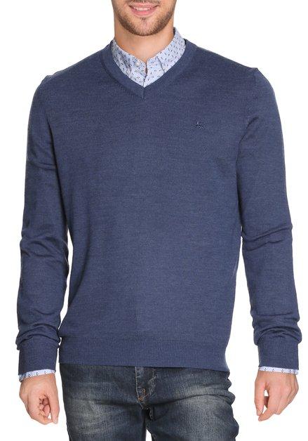 Blauwe pull met wol en v-hals